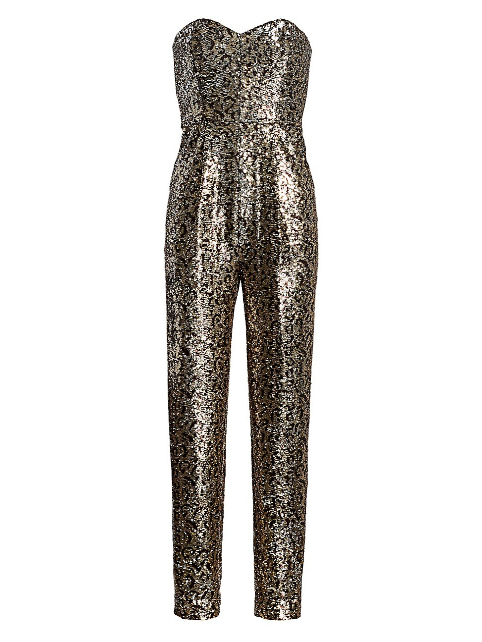 MILLY WOMEN'S SEQUIN LEOPARD STRAPLESS JUMPSUIT