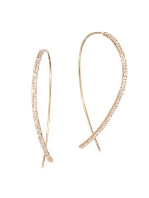 Lana Jewelry Flawless Diamond 14k Yellow Gold Upside Down Hoops