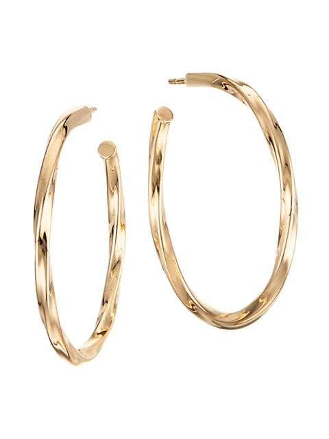 Royale 14K Yellow Gold Wave Twist Hollow Hoops