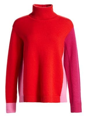 Diane Von Furstenberg Apple Wool Cashmere Colorblock Turtleneck