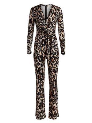 Diane Von Furstenberg Melinda Leopard Print Silk Jumpsuit