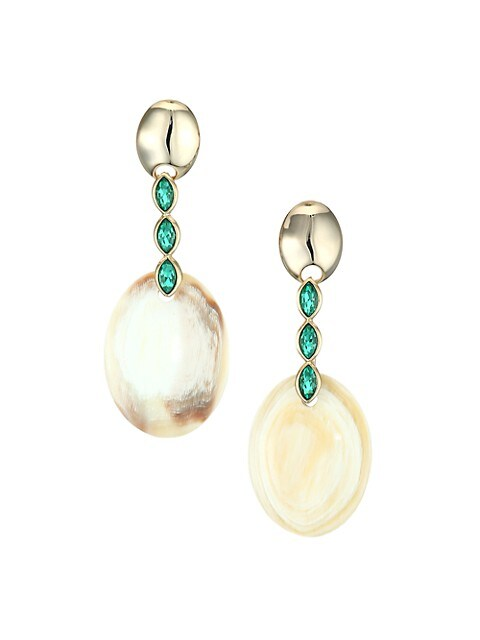 Swarovski Crystal & Horn Oval Drop Earrings