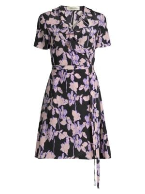 Diane Von Furstenberg Savilla Floral Silk Wrap Dress In Midnight Floral