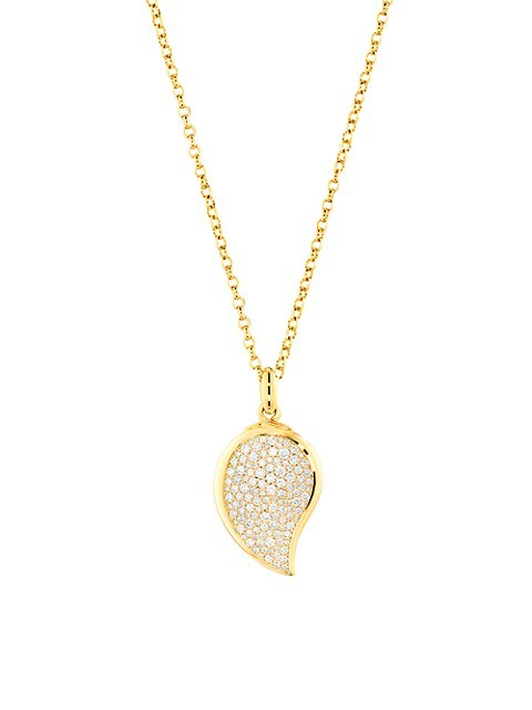 Signature Wave 18K Yellow Gold & Diamond Pavé Small Pendant