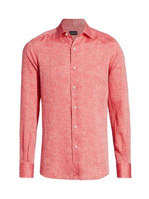 Ermenegildo Zegna Men's Linen Sport Shirt In Red