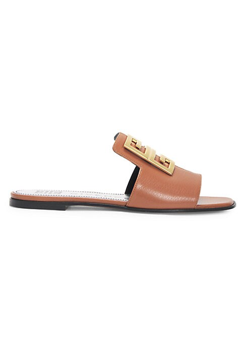 Flat leather sandals embellished with signature logo medallion at the toe. Leather upper Open toe Slip-on style Goldtone logo medallion Leather lining Leather sole Made in Italy. Women\'s Shoes - Advanced Women\'s Designe > Givenchy > Saks Fifth Avenue > Barneys. Givenchy. Color: Blond. Size: 35 (5).