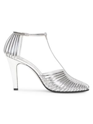 Givenchy Sandals Cage Metallic Leather T-Strap Sandals