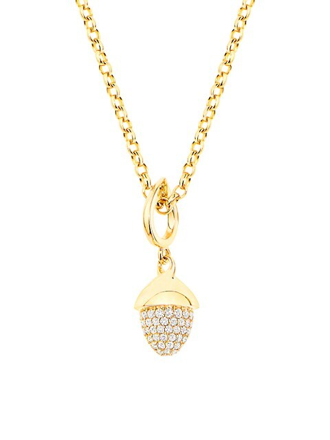 Mikado Flamenco 18K Yellow Gold & Diamond Pavé Acorn Pendant