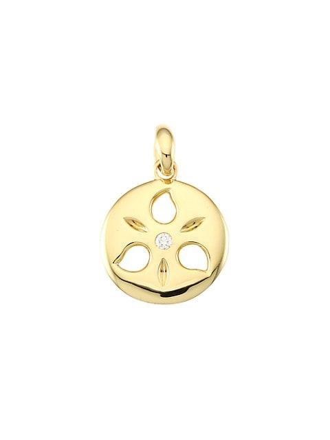 18K Yellow Gold & Diamond Small Sand Dollar Pendant