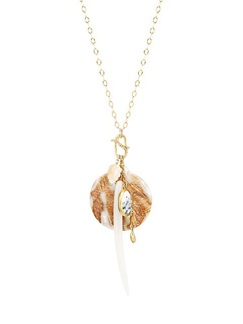 18K Goldplated, Mother-Of-Pearl & Shell Charm Long Necklace