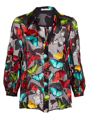 ALICE AND OLIVIA Sheila Butterfly Print Blouson Blouse