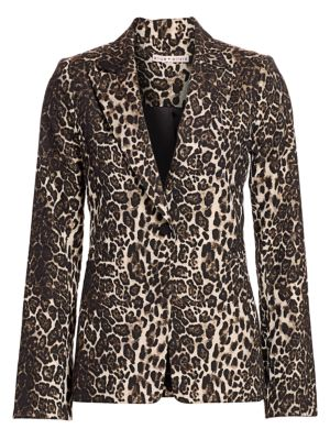 Alice Olivia Toby Leopard Print Fitted Blazer