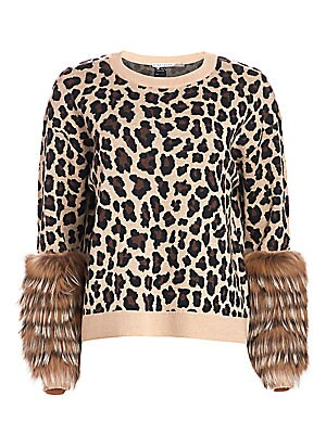 Sheila Leopard Silver Fox Fur Cuff Stretch Wool Sweater by Alice + Olivia