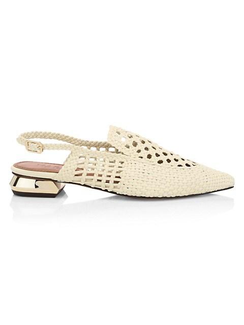 Gloria Woven Leather Slingback Loafers