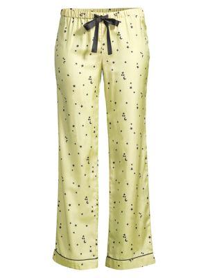 Morgan Lane Chantal Moon Star Silk Satin Pajama Pants