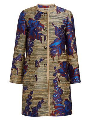 Etro Jacquard Floral Coat In Beige