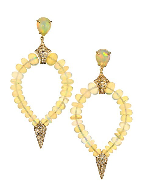 Misty 18K Yellow Gold, Opal & Brown Diamond Beaded Teardrop Earrings