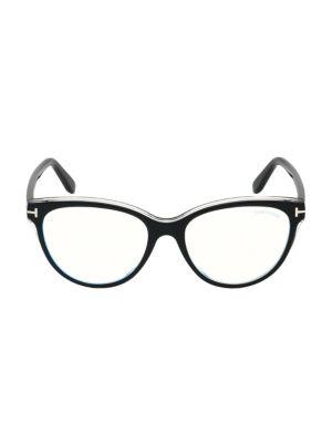 Tom Ford Women's 54mm Blue Block Square Eyeglasses In Black