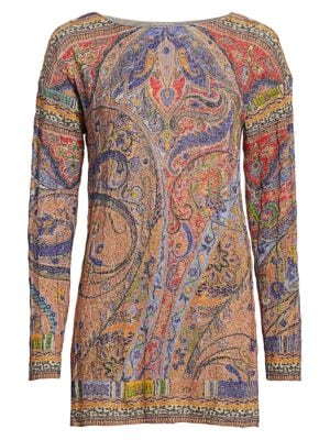Etro Paisley Cable Knit Tunic Sweater