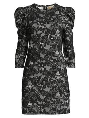 Glam Lace Puff Shoulder Mini Dress