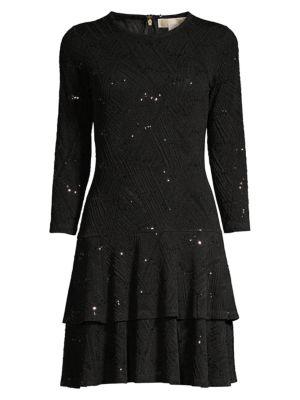 Jacquard Sequin Flounce Dress