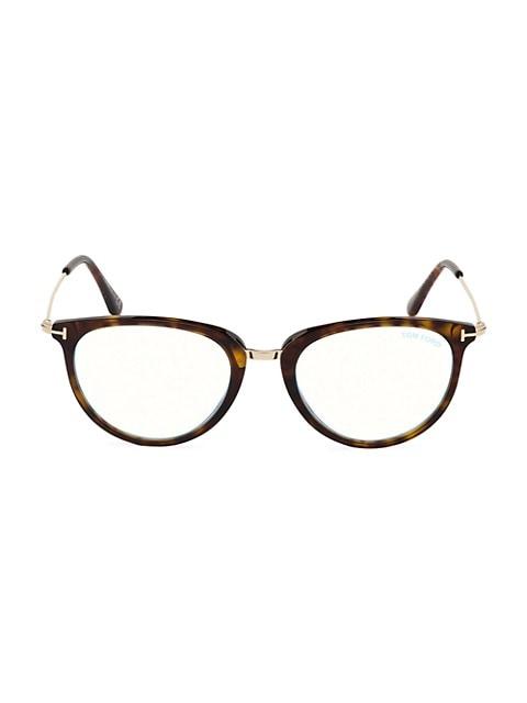 51MM Blue Block Cat Eye Eyeglasses