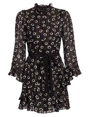 Saloni Dresses Marissa Circle-Print Metallic Stripe Silk Mini Tie-Waist Shirtdress