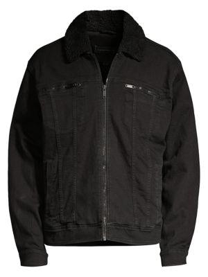 John Varvatos Faux Fur Collar Zip Trucker Jacket In Black