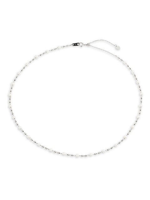Debut Platinum & 3.5MM White Freshwater Pearl Necklace