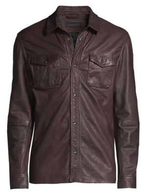 John Varvatos Leather Shirt Jacket In Port