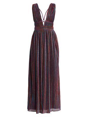 Jonathan Simkhai Tops Rainbow Pleats Lurex Sleeveless Gown