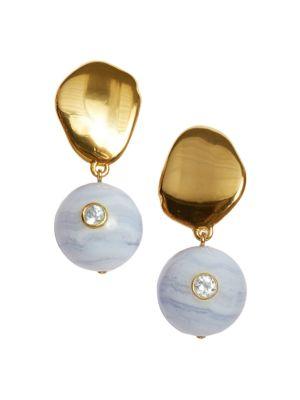 Lizzie Fortunato Goldplated Blue Lace Agate & Blue Topaz Drop Earrings