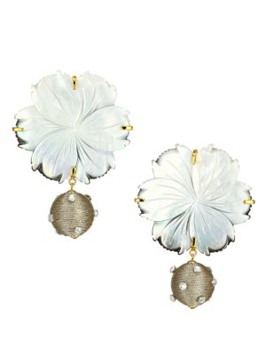 Lizzie Fortunato Goldplated Mother-Of-Pearl Flower Drop Earrings