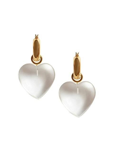 Goldplated Crystal Heart Hoop Drop Earrings