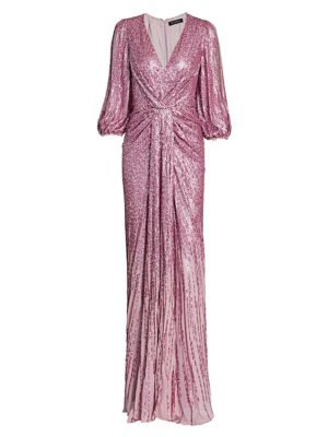 Jenny Packham Tops Jacinta Split-Sleeve Knotted Sequin Gown