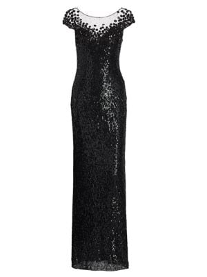 Jenny Packham Tops Suzette Sequin Cap-Sleeve Gown