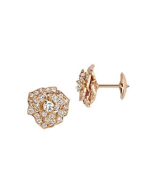 Piaget Piaget Rose 18k Rose Gold Diamond Stud Earrings Saksfifthavenue