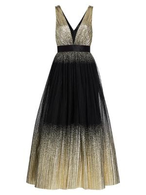Jenny Packham Tops Sleeveless Metallic Cascading Gown