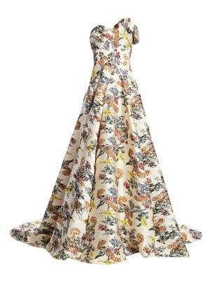 Oscar De La Renta Strapless Floral Ball Gown