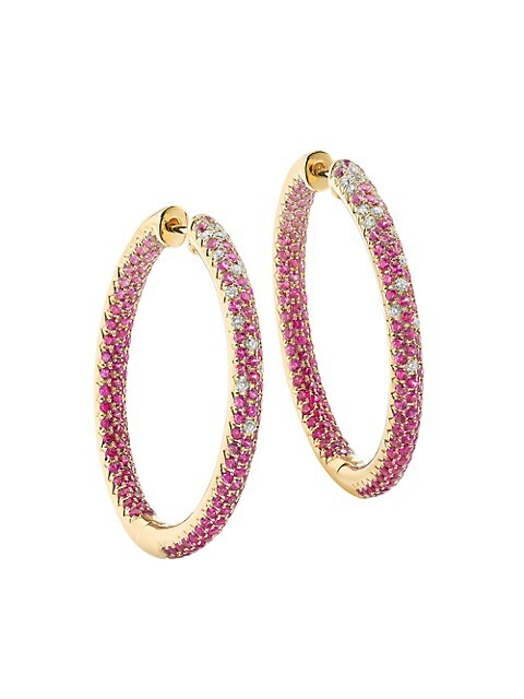Disco 14K Yellow Gold, Pink Sapphire & Diamond Hoop Earrings
