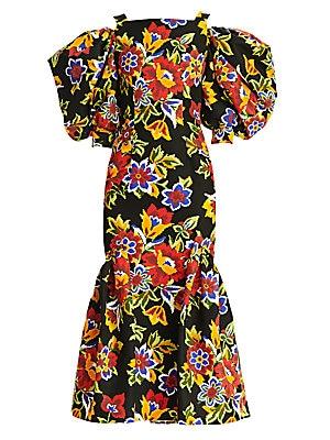 Carolina Herrera - Dramatic Puff-sleeve Floral Mermaid Midi Dress