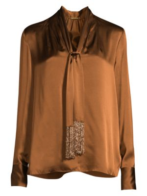 Elie Tahari Kendal Beaded Tie Neck Silk Blouse