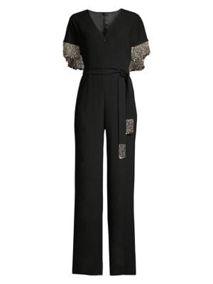 Elie Tahari Nur Beaded Cape Jumpsuit