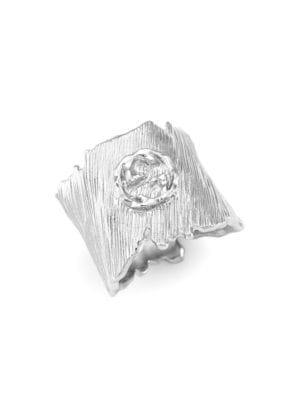 Gucci Men's Textured Metal Ring With Interlocking G In Silver