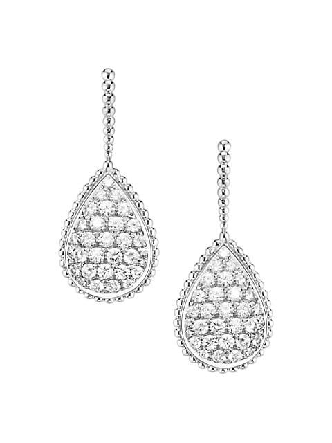 Serpent Bohème 18K White Gold & Diamond Sleeper Drop Earrings