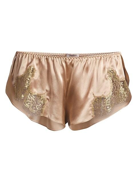Gina Silk Lace-Trim Shorts