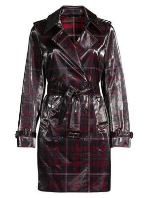 Elie Tahari Coats Natania Laminated Plaid Trench Coat