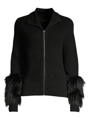 Elie Tahari Norah Silver Fox Fur Merino Wool Sweater