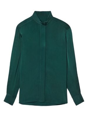 Sandro Verden Lace Inset Shirt In Green