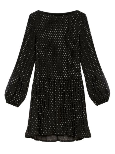 Maje Rockito Pleated Polka Dot Mini Dress   SaksFifthAvenue